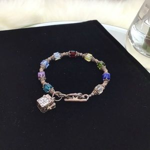 Glass beaded Charm Bracelet with Silver Chest
